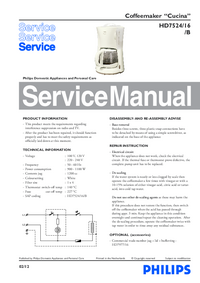 Service Manual Philips Cucina HD7524/16/B