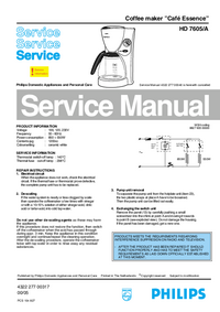 Manual de servicio Philips Café Essence HD 7605/A