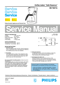 Service Manual Philips Café Essence hd 7607/a