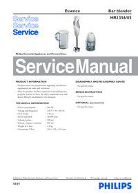 Servicehandboek Philips Essence HR1356/05