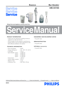 Manual de servicio Philips Essence HR1357/05