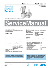 Manual de servicio Philips Essence HR 7750/01