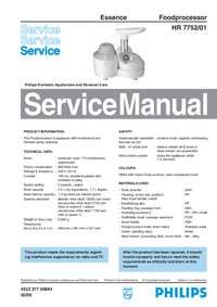 Servicehandboek Philips Essence HR 7752/01
