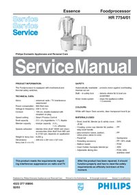 Servicehandboek Philips Essence HR 7754/01
