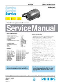 Service Manual Philips Vision HR 8900