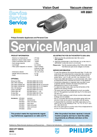 Manual de servicio Philips Vision Duet HR 8981
