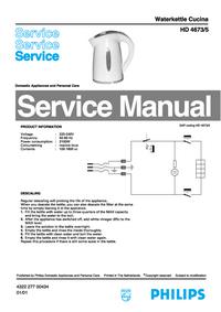 Manuale di servizio Philips Cucina HD 4673/5