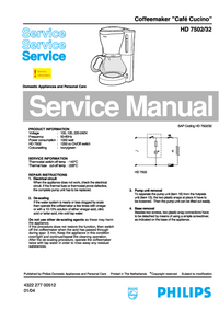 Manual de servicio Philips Café Cucino HD 7502/32