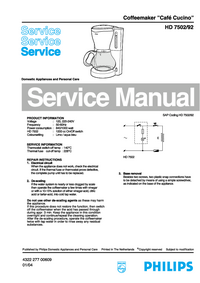 Manual de servicio Philips Café Cucino HD 7502/92