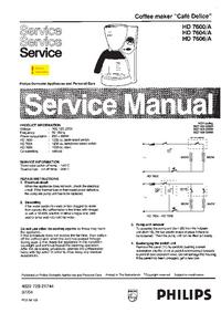 Manuale di servizio Philips Café Delice HD 7604/A