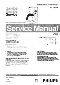 Service Manual Philips Café Delice HD 7602/A