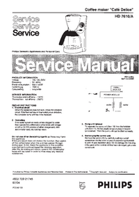 Service Manual Philips Cafe Delice HD 7610/A