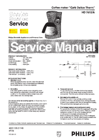 Service Manual Philips Café Delice Therm HD 7612/A