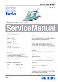Service Manual Philips Mistral GC2025