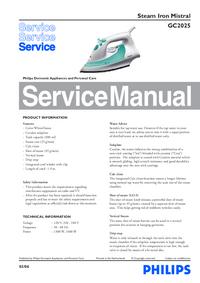 Manuale di servizio Philips Mistral GC2025