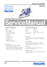 manuel de réparation Philips Mistral GC2105