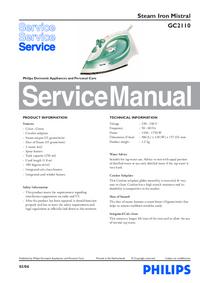 Manuale di servizio Philips Mistarl GC2110