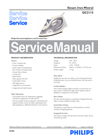 Service Manual Philips Mistral Gc2115