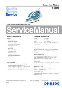 Руководство по техническому обслуживанию Philips Mistral GC2215