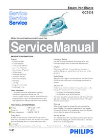 Руководство по техническому обслуживанию Philips Elance GC3035