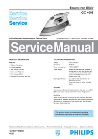 Service Manual Philips Elixir GC 4005