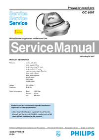 Service Manual Philips excel pro GC 6007
