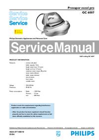 Manuale di servizio Philips excel pro GC 6007