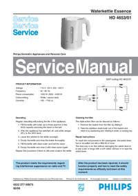 Servicehandboek Philips Essence HD 4653/01
