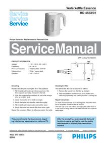 Manuale di servizio Philips Essence HD 4653/01