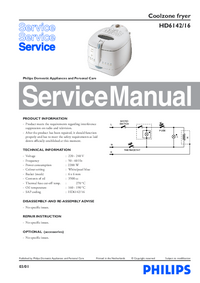 Manual de servicio Philips HD6142/16