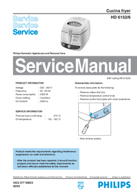 Manual de servicio Philips HD 6152/6