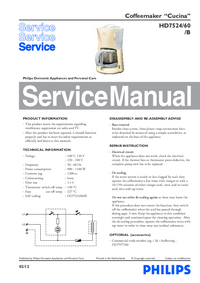 Service Manual Philips Cucina HD7524/60/B