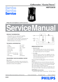 Service Manual Philips Cucina Therm HD7528/20