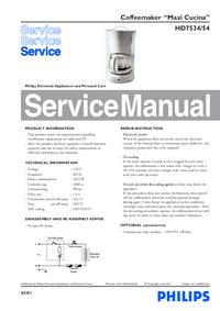 Руководство по техническому обслуживанию Philips Maxi Cucina HD7534/54