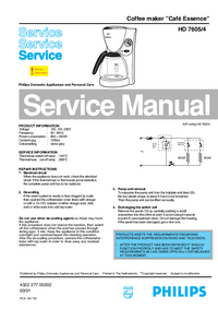 Manual de servicio Philips Cafe Essence HD 7605/4