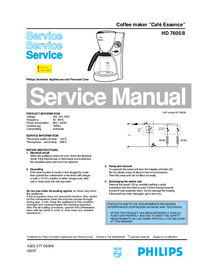 Manual de servicio Philips Café Essence HD 7605/8