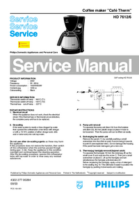Service Manual Philips Café Therm HD 7612/6