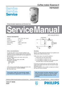 Manual de servicio Philips Essence II HD7620/01