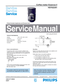 Service Manual Philips Essence II HD7622/81