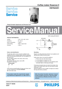 Service Manual Philips Essence II HD7624/01