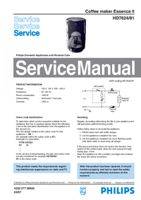 Manual de servicio Philips Essence II HD7624/81
