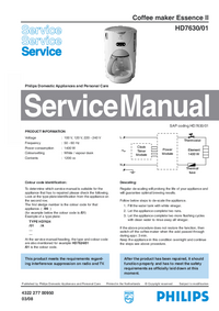 Service Manual Philips Essence II HD7630/01