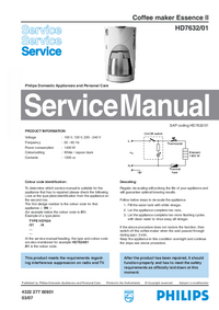 Manual de servicio Philips Essence II HD7632/01