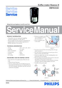 Manuale di servizio Philips Essence II HD7632/61