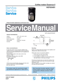 Servicehandboek Philips Essence II HD7634/81