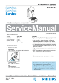 Manual de servicio Philips Senseo HD7801/62