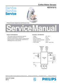 Service Manual Philips Senseo HD7810/10