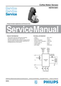 Manuale di servizio Philips Senseo HD7810/61