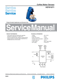 Service Manual Philips Senseo HD7810/71