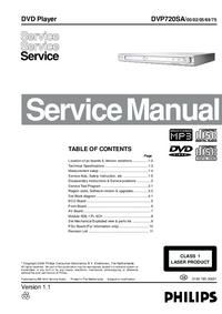 manuel de réparation Philips DVP720SA